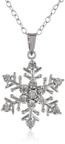 Sterling Silver Diamond-Accent Snowflake Pendant Necklace