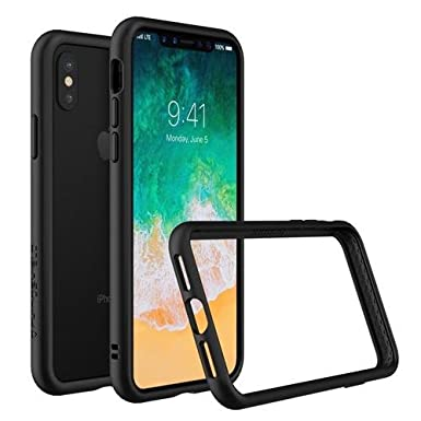 new concept e6564 398fc RhinoShield Bumper Case for iPhone XS / X [CrashGuard] | Shock Absorbent  Slim Design Protective Cover [3.5M/11ft Drop Protection] - Black