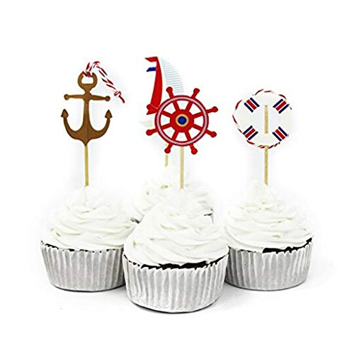 Sala-Houseware - 24PCS Nautical Theme Halloween Cupcake Topper Picks Cupcake Topper Supplies Child Kids Birthday Pirate Cake Party Decoration