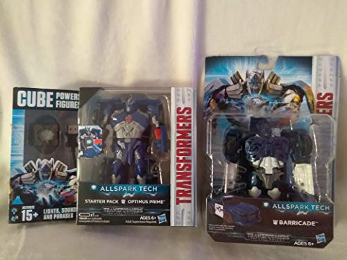 Allspark Tech Transformer Starter Optimus Prime & Barricade Transforms (Cube Powers Figures, Tech Cube Recognizes Motions) Activate 15+ Lights Sounds & Phrases with Cube Age 6+ ()
