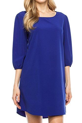 (KLKD A097 Women's Solid 3/4 Sleeve Boatneck Bishop Shift Dress Made in U.S.A. Royal Blue Medium)