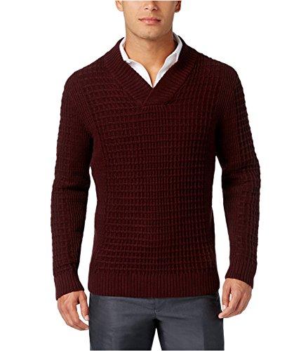 Alfani Mens Textured Pullover Sweater, Red, - Sweater Red Alfani