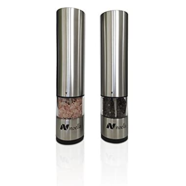 #1 Automatic Salt and Pepper Grinder Set: Best Electric Pepper Mill and Salt Grinder on the Market By Noella - with LED Light, Quality Stainless Steel Construction - 100x Better Than Manual Grinders