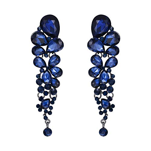 - EVER FAITH Women's Crystal Gorgeous Tear Drop Wedding Dangle Pierced Earrings Sapphire Color Black-Tone