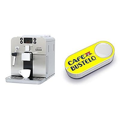 Gaggia Brera Super Automatic Espresso Machine in Silver & Cafe Bustelo Dash Button