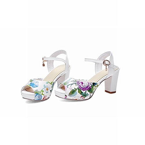 Carolbar Chic Womens Motivo Floreale Peep Toe Ciondolo Piattaforma Di Eleganza Chunky Sandali Tacco Alto Bianco