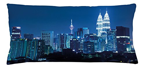 Cityscape Throw Pillow Cushion Cover by Ambesonne, Kuala Lumpur Skyline Night KLCC Twin Towers Malaysian Landmark Monochromic Photo, Decorative Square Accent Pillow Case, 36 X 16 Inches, Navy - Malaysian Women Pictures
