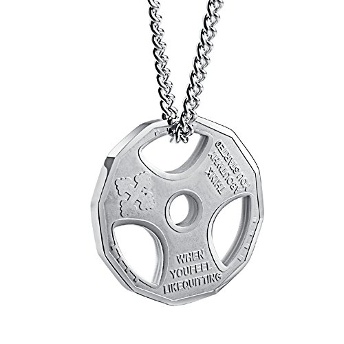 WaMLFac Mens Fashion Stainless Steel Fitness Gym Dumbbell Weight Plate Barbell Chain Pendant Necklace