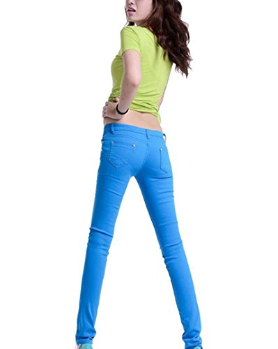 Slim Blu A Runyue Pantaloni Casuali Matita Stretch Pantalones Alta Skinny Cielo Donna Vita 7Tzq6