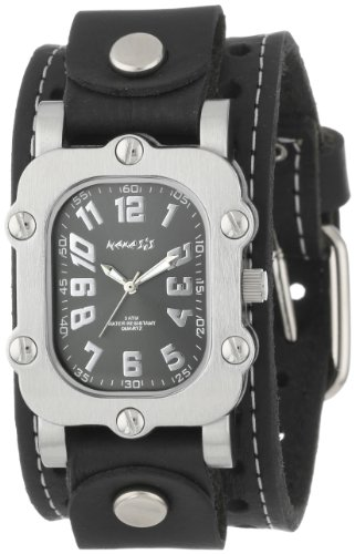 Nemesis Men's STH007K Signature Stainless Steel Watch With Leather Cuff