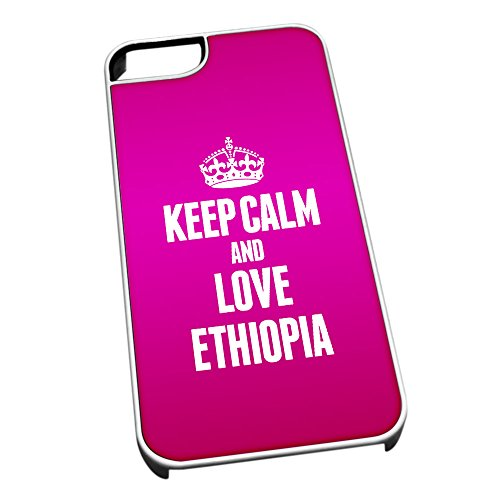 Bianco cover per iPhone 5/5S 2190 Pink Keep Calm and Love Ethiopia