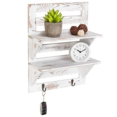 MyGift 2-Tier Rustic Whitewashed Wood Wall-Mounted Shelf Rack with Key Hooks ()