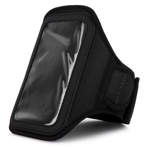 VanGoddy Armband - DARK BLACK Neoprene Sweat-proof w/ Key & ID Card Pouch for LG Nexus 5 4G LTE Smartphone + Black Handsfree Microphone Headphones