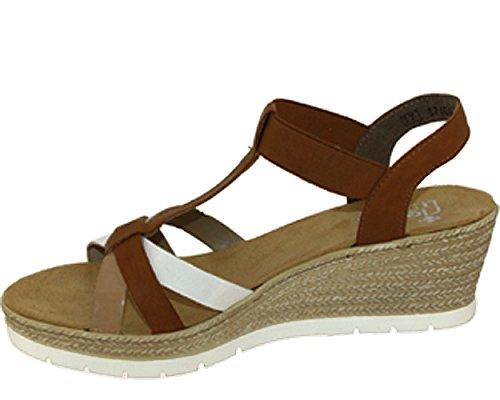 Rieker Kvinnor-sandalette Brun 910.804-2 Bianco / Cayenne / Ytskikt