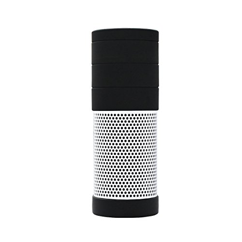 Meres Silicone Case Cover for Amazon Echo 1th Gen Speaker - 5 - Segment Detachable Splicing Design Allow Real Sound from Echo, Impact & Drop Resistant, Precise Cutouts for Plug Hole (FULL BLACK) by Meres (Image #1)