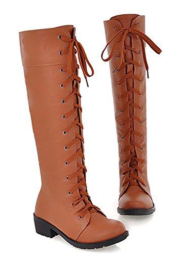 Aisun Mujeres Cool Lace Up Chunky Flat Heel Knee High Botas Marrón