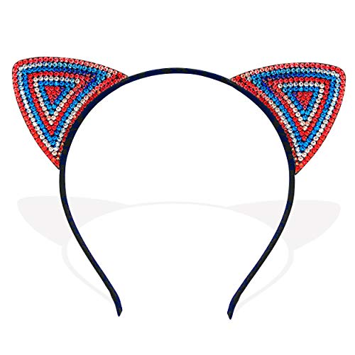 (Red White and Blue Patriotic American Bejeweled Cat Ears Headband 4th of July Memorial Day Accessory)