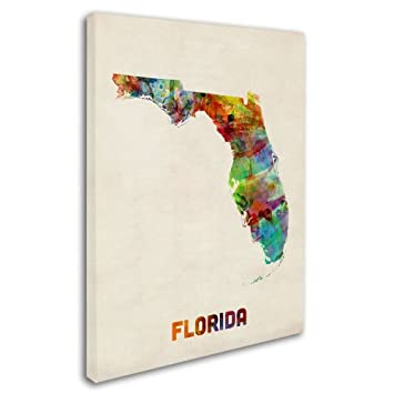 Florida Map by Michael Tompsett, 18 by 24-Inch Canvas Wall Art