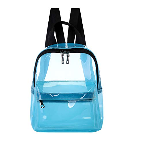 Peigen Transparent Waterproof Book Female Fashion College Students Transparent Backpack PVC Daypack with Cosmetic Makeup Bag for Travel Work Gym Hiking (Student Girls T-shirt College)