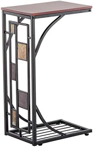 Iron Side Table Coffee Table 54 x 30.5 x 21CM C-Type Table Desktop Brown Style 1