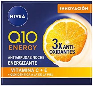 NIVEA Q10 Energy Crema de Noche Antiarrugas + Energizante (50 ml), Crema facial para una piel radiante y de aspecto saludable en 8 h, crema reafirmante con antioxidantes