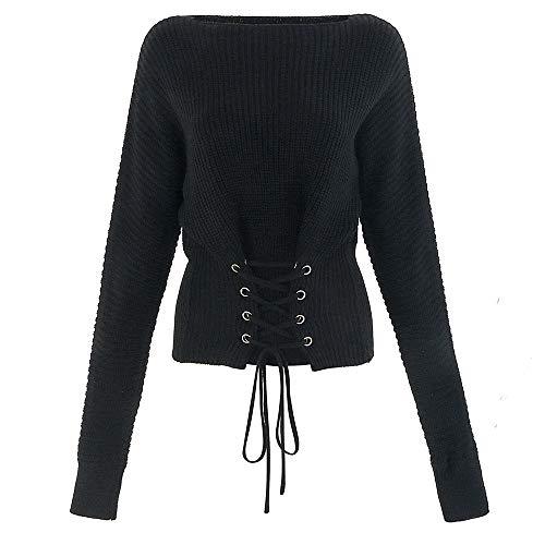 MuSheng en Femmes Hauts Manches dcontract T Tricot Longues Noir Shirt qT5qwr
