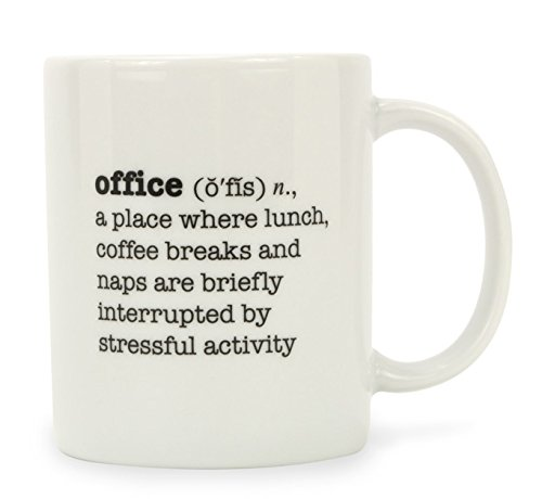 Brownlow Gifts Funny Office Porcelain Coffee Mug, Office Definitions in Black, White Design