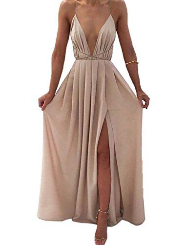 DUBACH Womens Chiffon Spaghetti Strap Deep V Neck High Slit Maxi Beach Dress (Small, (Satin Long Dress)