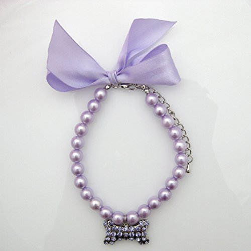 (PetFavorites Fancy Pearls Crystal Dog Necklace Jewelry with Bling Rhinestones Big Bone Charm for Pets Cats Small Dogs Girl Teacup Chihuahua Yorkie Clothes Costume Outfits (Purple, 8 to 10-Inch))