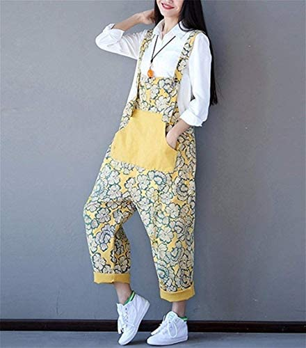 Size:M ZuoYUNL Women Jeans Cropped Pants Overalls Jumpsuits Poled Distressed Casual Loose Fit Hand Painted