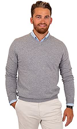 CANALSIDE Men's Fitted V-Neck Pullover Sweater Soft Merino Wool Cotton Knit,Small,Heather Gray