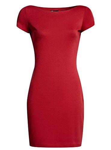oodji Ultra Mujer Vestido de Punto con Escote Barco Rojo (4500N)