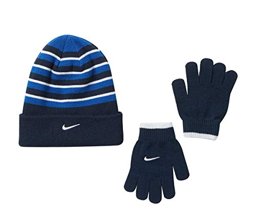 NIKE Boy's Cold Weather Snow Cuff Style Hat and Gloves Set (8/20, Obsidian(9A2315-B8W)/White)