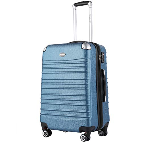 Hardside Carry on Luggage, Expandable Luggage TSA Lightweight Spinner Carry ons, One piece Travel Carry On Luggage 20 inches(METALLIC BLUE)