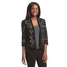 Kasper Women\'s Embroidered Cardigan Jacket, Black, 8