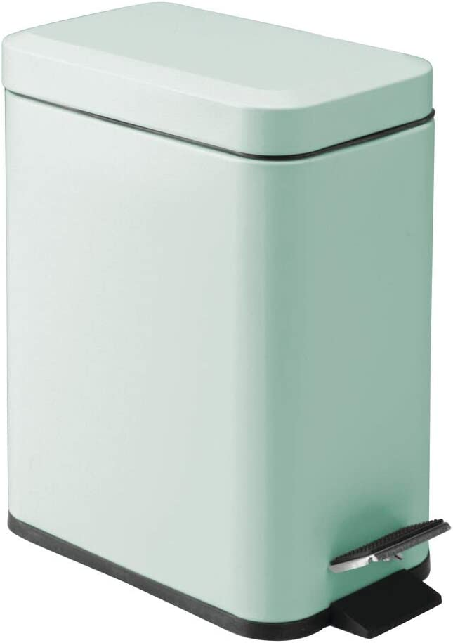mDesign 1.3 Gallon Rectangular Small Steel Step Trash Can Wastebasket, Garbage Container Bin for Bathroom, Powder Room, Bedroom, Kitchen, Craft Room, Office - Removable Liner Bucket - Light Mint Green