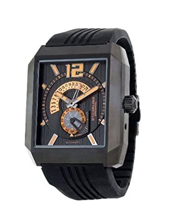 STUHRLING STAINLESS STEEL CASE BLACK RUBBER UHR 284.335657