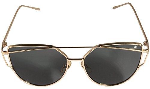 Cateye Sonnenbrille in gold verspiegelt UV400 retro vintage Katzenaugen Mode Fahsion Metallrahmen Sunglasses classic - Whatever®