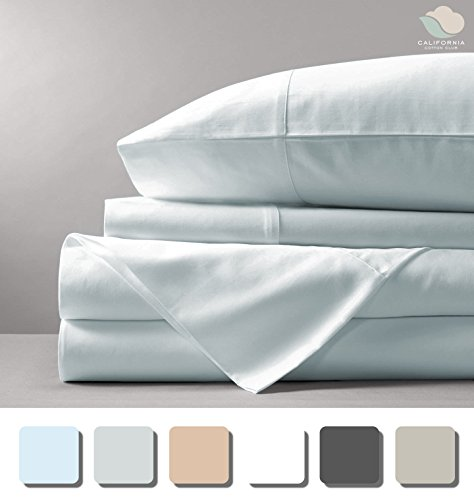 600 Thread Count Sheet Set (Blue Fog, King, 100% Cotton Sheets) 17 inch Deep Pockets, Marrow-Stitch Hem, 100% Long-Staple Combed U.S. Cotton, Soft Sateen Weave Bedsheets by California Cotton (Fog Machine Cover)