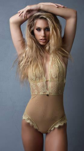 Yandy Women Nude Sheer Mesh Deep V-Neckline Zodiac Leo Teddy Lingerie Medium