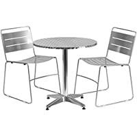 Flash Furniture 27.5 Round Aluminum Indoor-Outdoor Table Set with 2 Silver Metal Stack Chairs