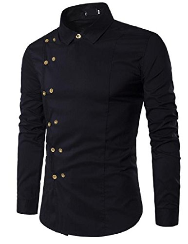 Zimaes Men's Solid Plus Size Slim Fit Double-breasted Western Shirt Black XLarge