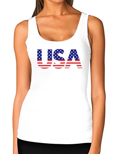 Tstars TeeStars - American USA Flag 4th of July Independence Day Gift Women Tank Top Small White