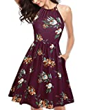 KILIG Women's Halter Neck Floral Summer Dress Strap Sundress with Pockets (Wine Red Floral-4,L)