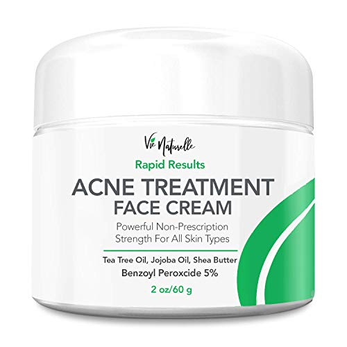 Acne Treatment Cream - Benzoyl Peroxide 5% - Topical Anti Pimple Medication for Cystic Acne Spot Treatment - Tea Tree Oil for Acne with Witch Hazel, Jojoba Oil, Almond Oil, and Shea Butter (The Best Pimple Cream)