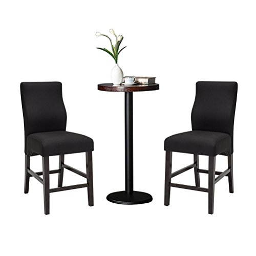 Andeworld Set of 2 Upholstered Dining Chairs Padded Counter Height Bar Stools with Wood Legs (Counter Stool-Black) (Bar Wood Chair)