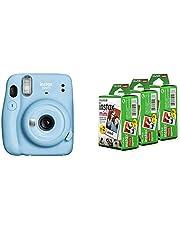Fujifilm Instax Mini 11 Instant Camera (Sky Blue) Bundle with Instax Mini Film, White Multi-Pack (60 Exposures)