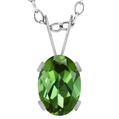 Gem Stone King 0.85 Ct Oval Green Tourmaline 14K White Gold Pendant