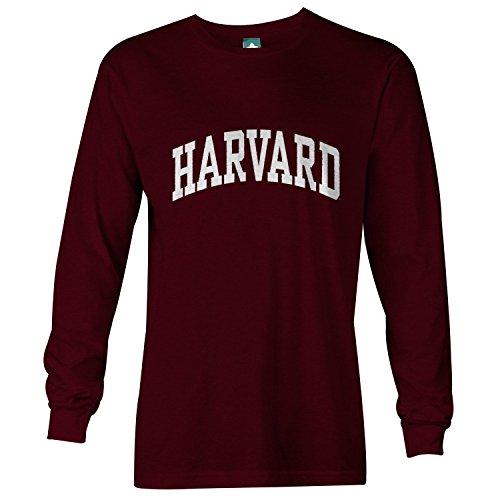 Harvard University Long Sleeve T-Shirt by Ivysport – Classic Logo, 100% Cotton, Maroon, Long Sleeve T-Shirt