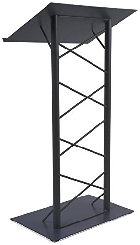 - 47-inch Truss Lectern with 7/8-Inch Lip, Free-Standing Podium with Lattice-Style Design, Steel - Black